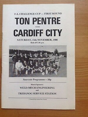 TON PENTRE v CARDIFF CITY FA Cup First Round 1986/87