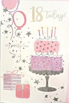 18th BIRTHDAY CARD FEMALE AGE 18 SPARKLE CAKE DESIGN QUALITY VERSE