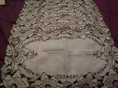 "4 Beautiful Madeira Embroidered. and Cutwork Linen Placemats 12"" by 18"""