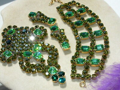 NICE VINTAGE 1960s ANTIQUE CZECH RHINESTONES LOT OF JEWERLY MIX *SIGNED* T36