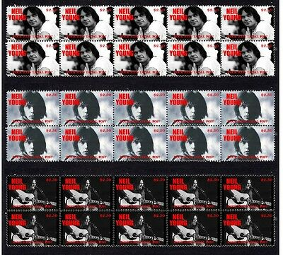 Neil Young Rock Icon Set Of 3 Mint Stamp Strips 1