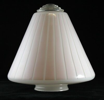 ART DECO LIGHT SHADE  Pendant  Pink GLASS STEPPED Beehive Flying Saucer UFO VGC