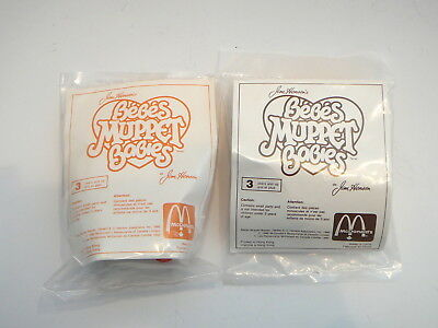 2 x McDonalds Muppet Babies Happy Meal Toys, Sealed in Plastic - Fozzie & Animal