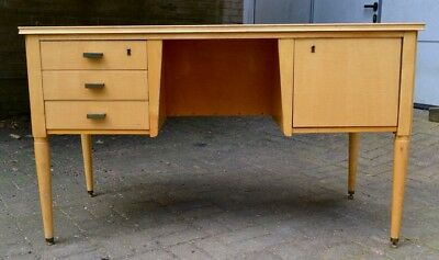 Rare Mid-Century Modern Desk, Maple, Belgian, produced by SICAME