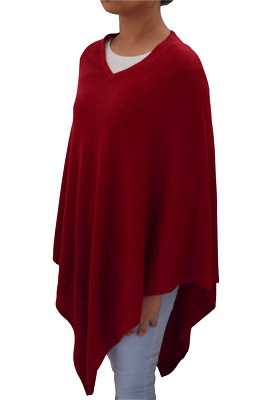 Maroon Pashmina Poncho Cashmere Wool Cape Wrap Soft Warm Women Long Sleeve 3