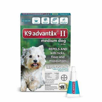 Bayer K9 Advantix II for Medium Dogs 11 - 20 Lbs 6 Pack