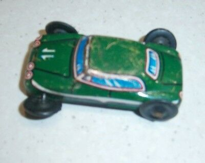 Vintage Small Metal Green Race Car With Plastic Wheels - 4 Cms Long