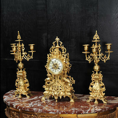 Antique French Gilt Bronze Gothic Clock Set By Samuel Marti