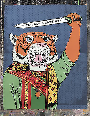 Silk Screened Outsider Pop Art Screen Print Psychic Guardian Tiger Sword Protect