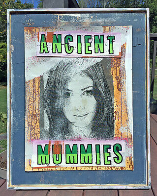 Outsider Folk Art Painting Collage Poster Mummies Monster Girl Party Distressed