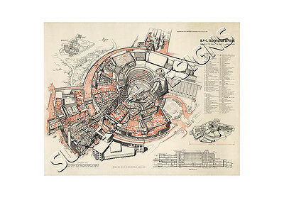 BBC Television Centre TVC new large 1958 Architects drawing plan