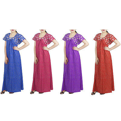 Women Dress Long Indian Cotton Nighty Night Sleepwear Gown Maxi Printed New
