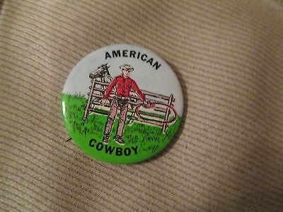 Vintage American Cowboy Pinback Button Cowboy with Lariat and Horse