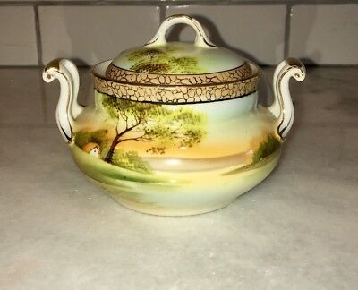 Nippon Hand Painted Bowl With Lid House Tree
