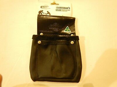 Buckaroo Black Leather Hold All Bag - TMHA; 200mm x 220mm; Premium Boot Leather