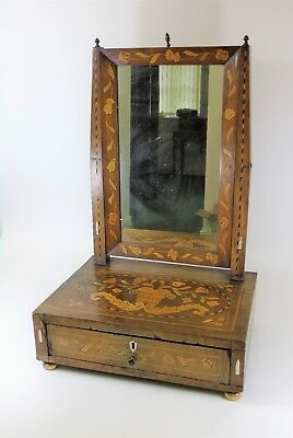 Early 19th Century Dutch Mahogany Marquetry Inlaid Dressing Table Mirror