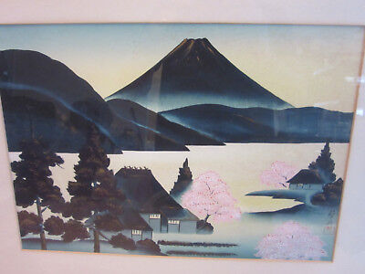 Vintage Chinese / Japanese painting on cloth SIGNED Mountain houses & trees FRAM