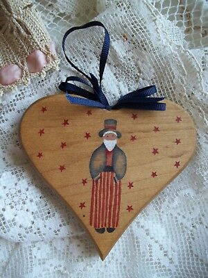 Uncle Sam Hand Painted on Wood Heart with Stars Made in USA