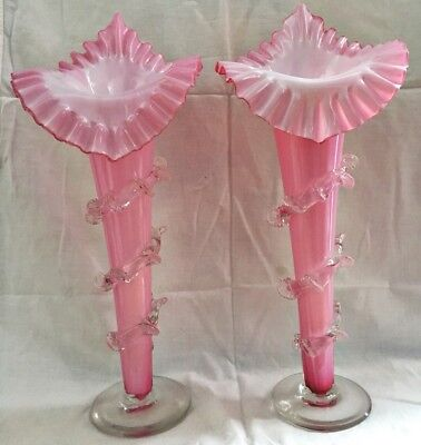 Matched Pair Victorian Pink Cranberry Art Glass JIP Vases with Rigaree 15.5 inch