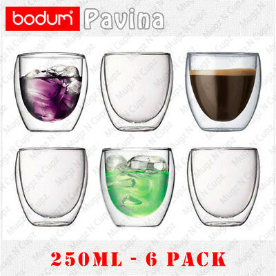 BODUM PAVINA Double Wall Insulated Thermo Glass Coffee Latte Tea Cups 6x 250ml
