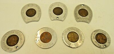 "Lot of 7 Lucky Encased ""Keep Me and Never Go Broke"" Wheat Pennies"