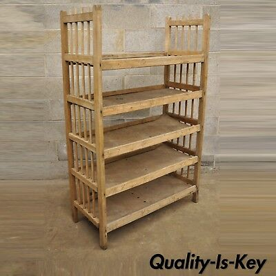 Vintage Wooden 5 Shelf Shoe Drying Rack Retail Store Display Industrial Stand