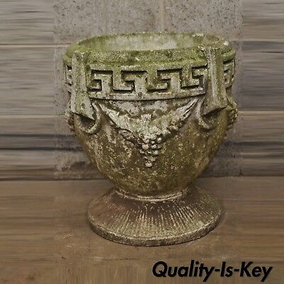 Vtg Concrete Cement Garden Planter Greek Key & Grape Vine Greek Classical 17""