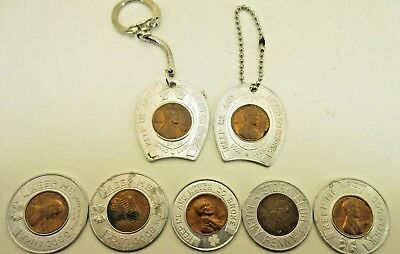 "Lot of 7 Lucky Encased ""Keep Me and Never Go Broke"" Pennies 2 with Keychains"