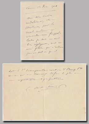 Camille Saint-Saëns (composer) – autograph letter signed re:his opera Henry VIII