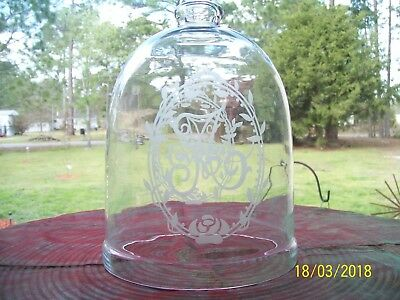 Large Tall Antique Glass Cloche Dome Bell Jar~Vacuum~Apothecary~Display 12""