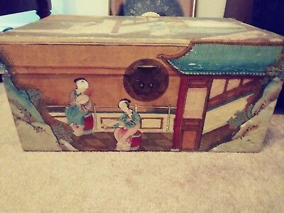 Antique Chinese Qing Dynasty pigskin wrapped and hand painted wedding trunk.