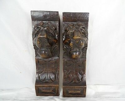 """9"""" Antique French Pair of Hand Carved Oak Wood Lion Wall Corbel"""