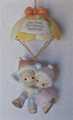 Precious Moments 'OUR FIRST CHRISTMAS TOGETHER' Dated 2002 Porcelain Ornament