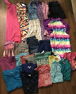 Girls Summer Play Clothes Shorts Tees Swimsuit Dresses Sz 14/16 Lot 24 Justice