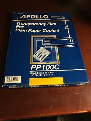 Apollo Transparency Film for Plain Paper Copiers 33/100/Box PP100C Clear  USED
