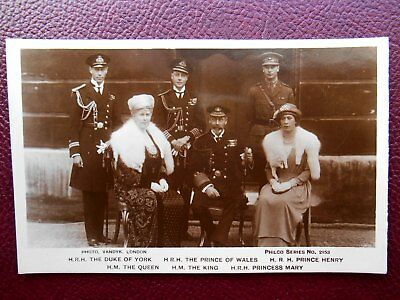 King George V Queen Mary 3 Princes & Princess Mary - British Royalty RP c1920s