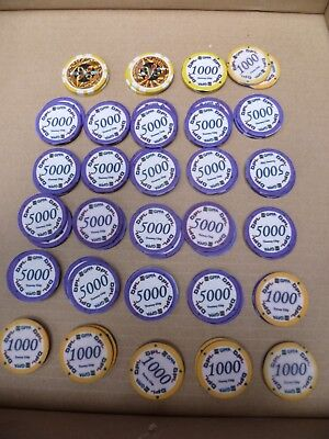 1x 58 Stück Keramik Poker Turnier Chips 40mm GPPA DPL 1000 + 5000 tourney token