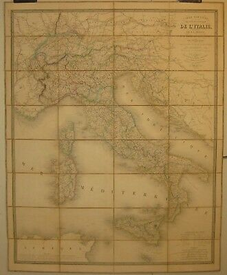 Antique 1842 CHARLES PICQUET 'Carte Routiere d'Italie' ITALY Folding MAP w CASE