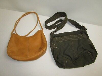 Used FOSSIL Bag Lot of (2) ~ (1) Camel/Brown Leather + (1) Green Cloth Material