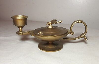 antique figural brass dragonfly lady bug chamber candle stick holder trinket box