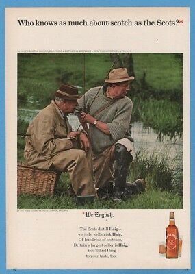 1965 Haig Scotch WE ENGLISH River Churn Cheltenham England UK Fishing Photo Ad