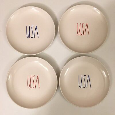 """NEW Rae Dunn USA 6"""" Set of 4 Round Plates 4th Of July Ceramic Ivory Blue & Red"""