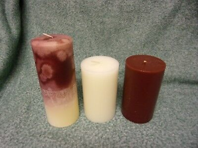 Lot of 3 Partylite Pillar Candles Striped Mulberry Vanilla 7 x 3 & 5 x 3 New
