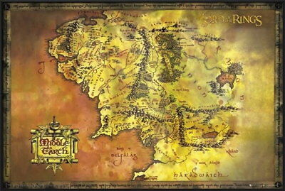 92663 THE LORD OF THE RINGS MOVIE MAP OF MIDDLE EARTH Decor WALL PRINT POSTER UK