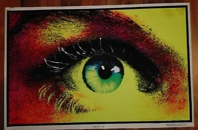 "Funky Enterprises Inc Retro Poster ""The Eye"" 1974 56 x 86 Neon Schwarzlicht Samt"