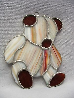 Hand Made Stained Amber Cream Slag Glass Teddy Bear Suncatcher Window Ornament