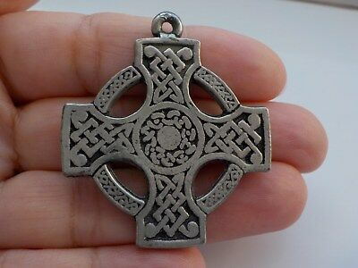 Lovely Old Celtic Style Pewter Cross Pendant Metal Detecting Find