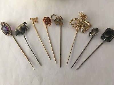 Lot Of 8 Vintage Stickpins And Cushion