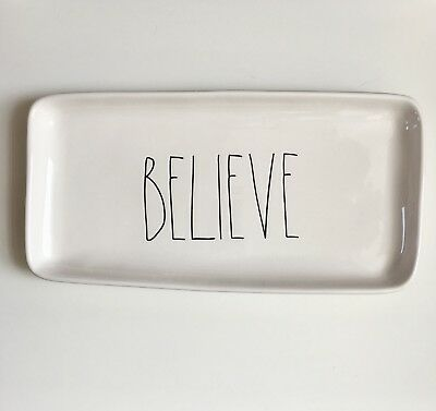 """New Rae Dunn """"BELIEVE"""" Christmas Holiday Large Letter Platter Serving Dish Tray"""