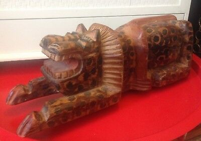Estate Sale Find - Vintage Hand Carved Solid Wood Leopard Wild Animal Sculpture